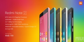 Xiaomi anuncia Redmi Note 2 e Redmi Note 2 Prime na China